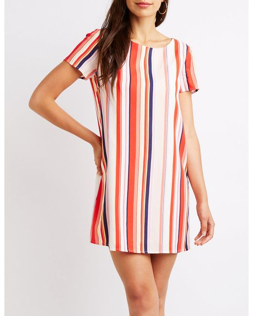 Charlotte Russe - Red Striped Caged Back Shift Dress - Lyst