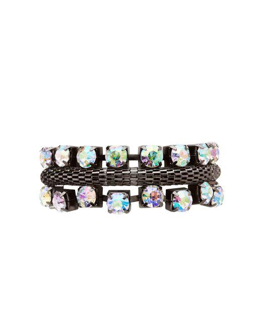 Charlotte Russe - Metallic Textured Crystal Bracelet - Lyst
