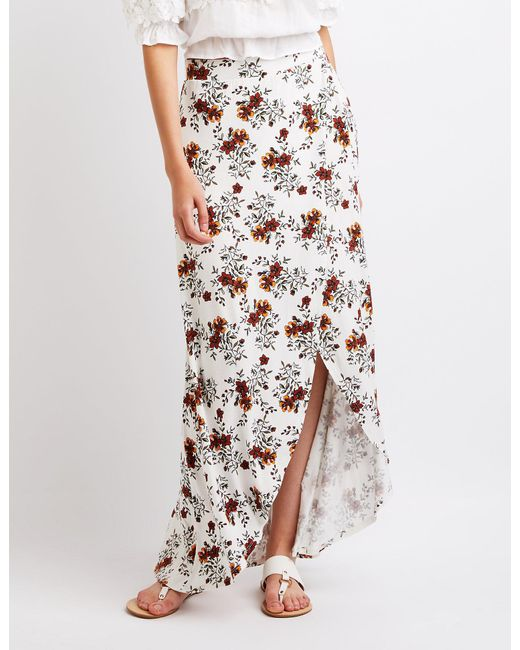 Charlotte Russe - White Floral Maxi Skirt - Lyst