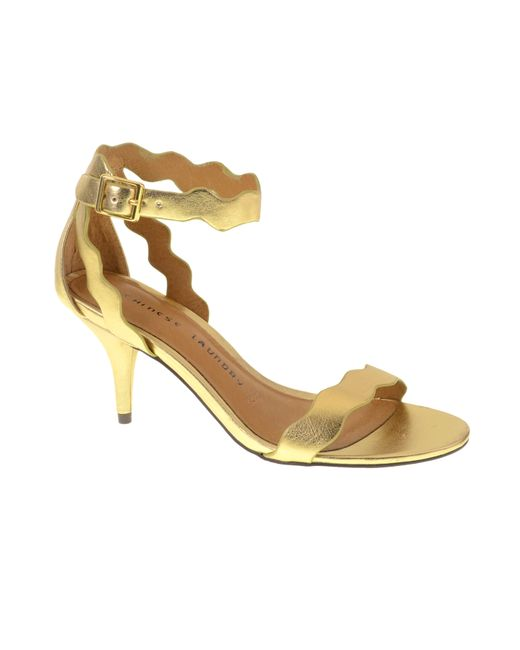 Chinese Laundry | Metallic Rubie Scalloped Leather Sandal | Lyst