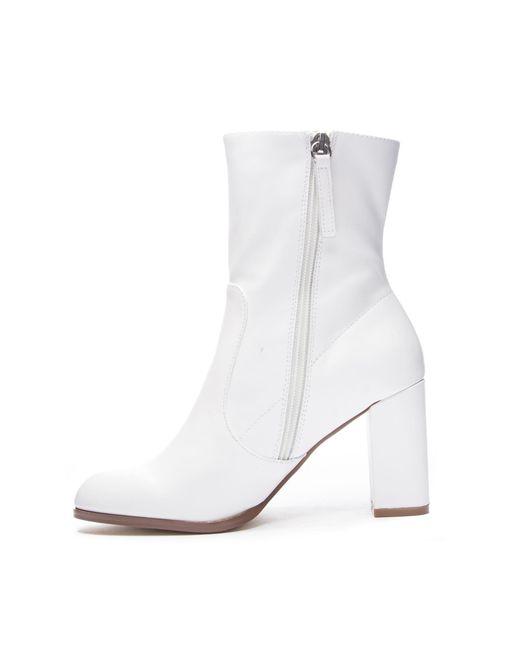 7e235ca178cb ... Chinese Laundry - White Crushing Block Heel Bootie - Lyst ...
