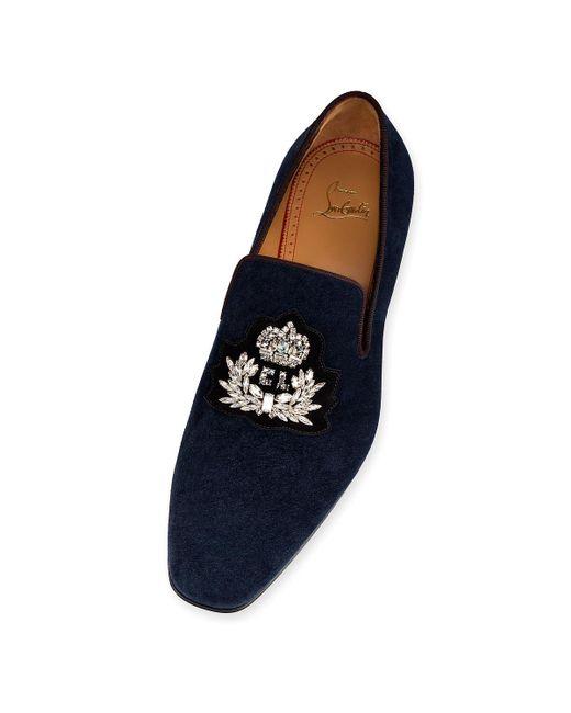 6f4d4dd64c9a ... Christian Louboutin - Blue Logo Dandelion Flat for Men - Lyst ...