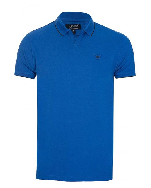 Armani - Jeans Open Collar Polo Blue for Men - Lyst