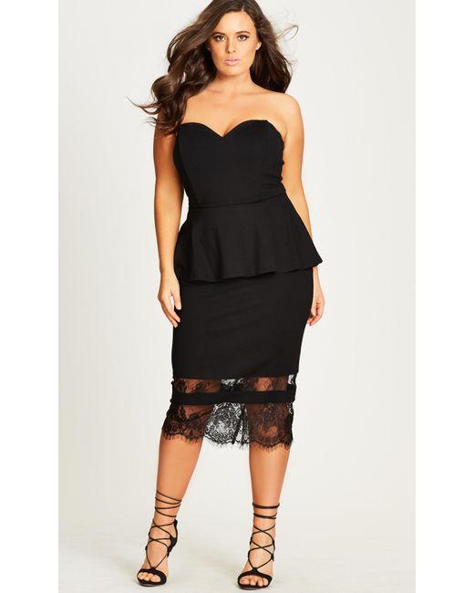 Lyst City Chic Plunge Peplum Dress In Black