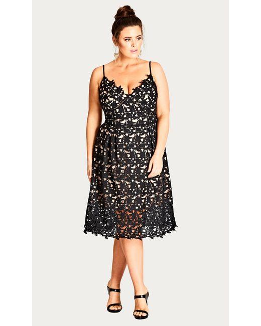 Lyst City Chic Black So Fancy Crochet Fit Flare Dress In Black