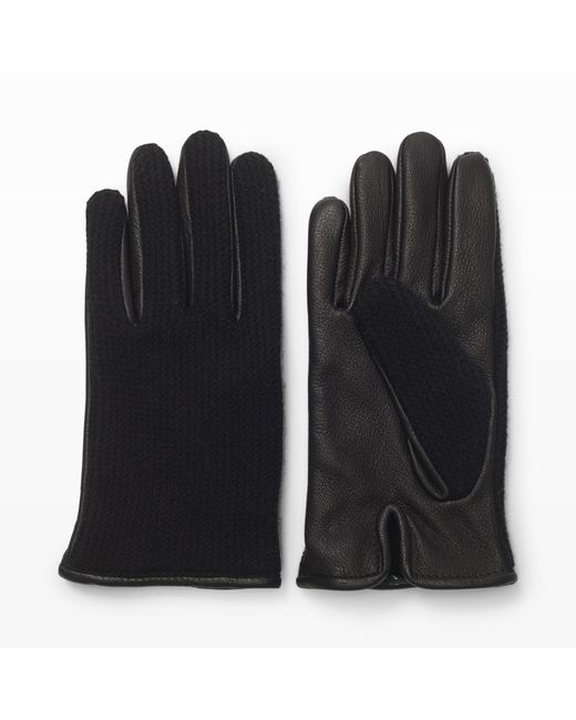 Club Monaco - Black Half-knit Leather Glove for Men - Lyst