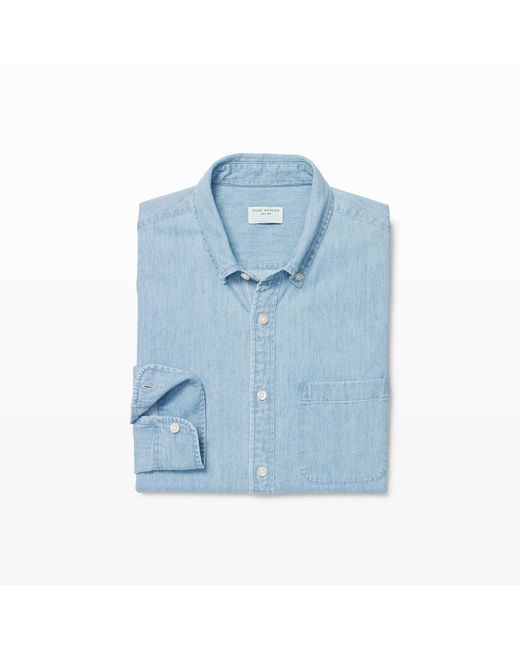 Club Monaco - Blue Slim Denim Shirt for Men - Lyst