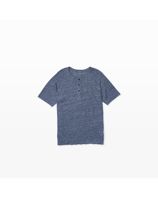 Club Monaco | Blue Short-sleeve Linen Henley for Men | Lyst