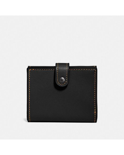 COACH | Black Small Trifold Wallet In Glovetanned Leather | Lyst