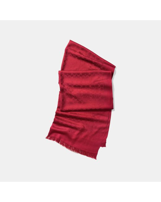 COACH - Red Signature Stole - Lyst