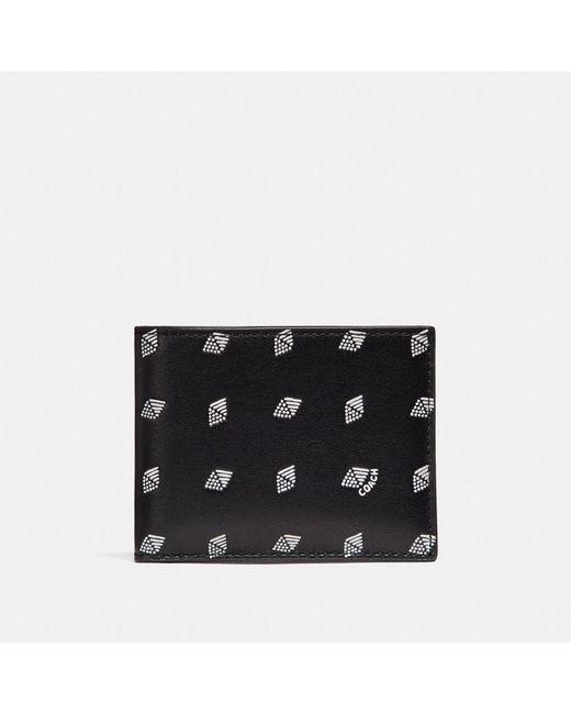 COACH - Black Slim Billfold Wallet With Dot Diamond Print - Lyst