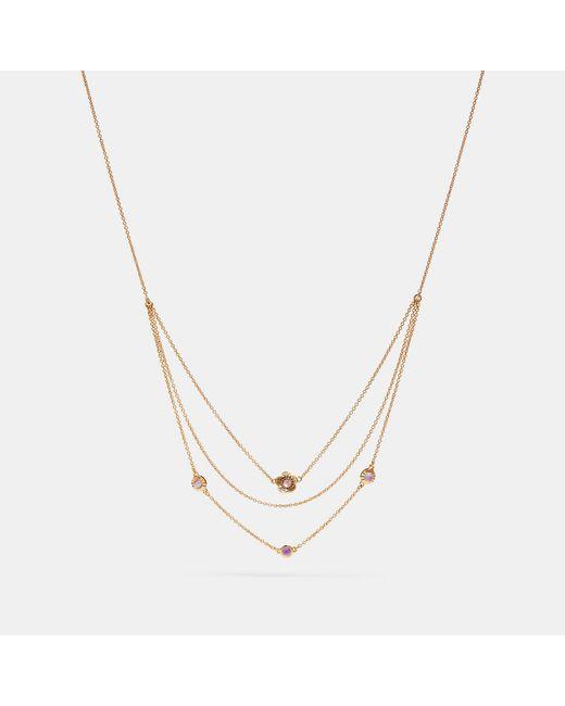 COACH - Metallic Demi-fine Sunburst Layered Chain Necklace - Lyst