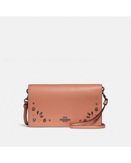 0f419a71fad15 COACH - Brown Foldover Crossbody Clutch With Prairie Rivets Detail - Lyst