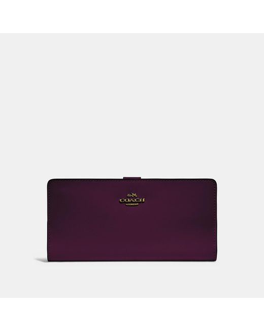 COACH - Purple Skinny Wallet - Lyst