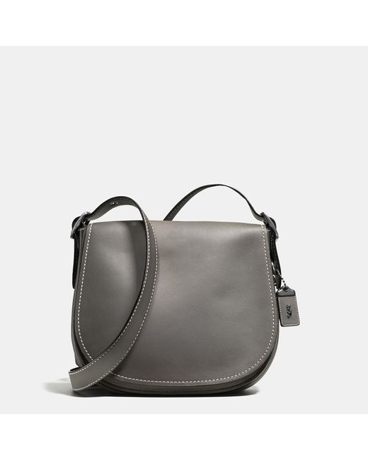 COACH   Gray Saddle Bag In Burnished Glovetanned Leather   Lyst