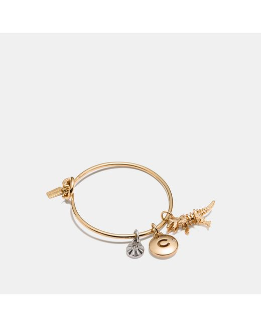 COACH - Metallic Rexy Disc Hoop Bangle Charm Set - Lyst
