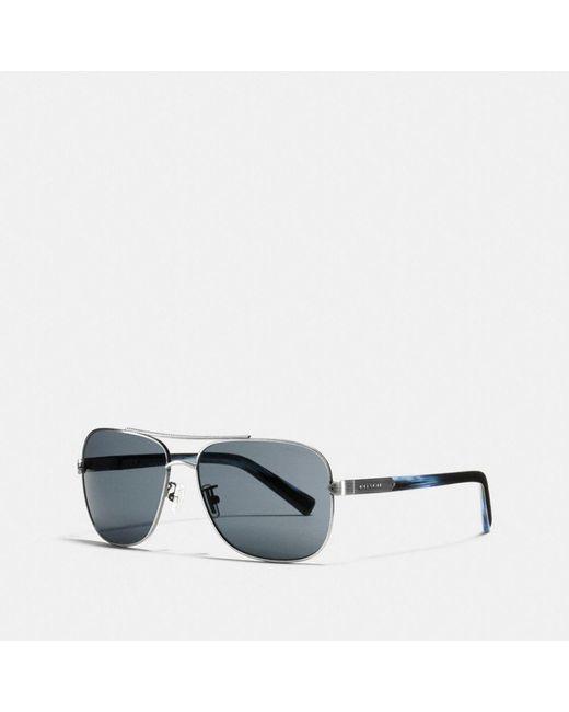 COACH - Blue Tag Temple Navigator Sunglasses - Lyst