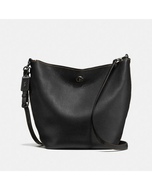 COACH - Black Duffle Shoulder Bag In Glovetanned Pebble Leather - Lyst