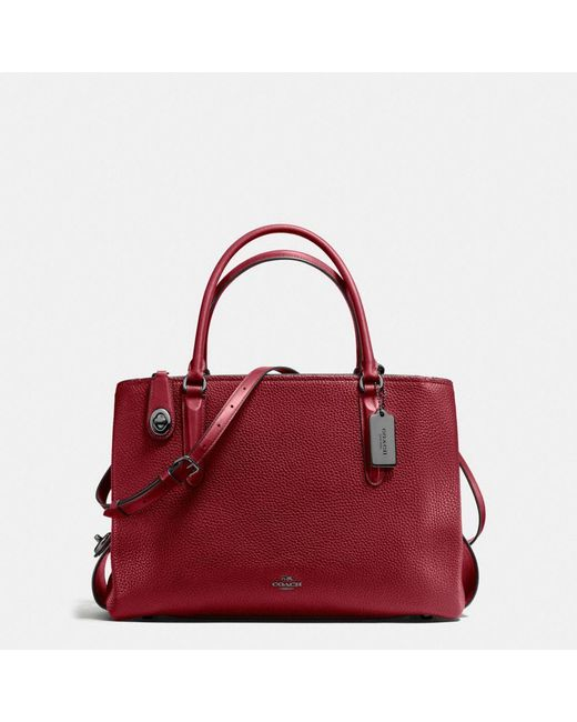 COACH   Red Brooklyn Carryall 34 In Pebble Leather   Lyst