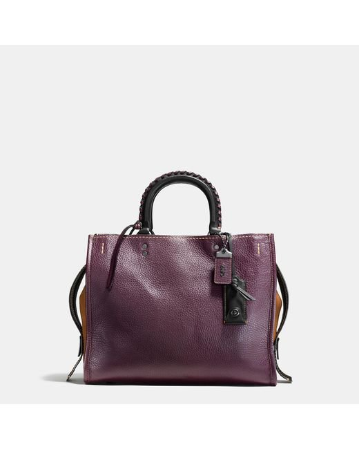 COACH | Black Rogue With Embellished Handle In Glovetanned Pebble Leather | Lyst