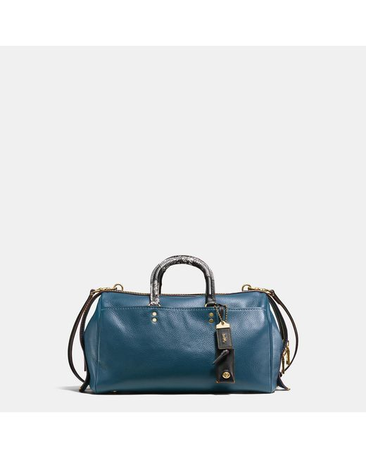 COACH | Blue Rogue Satchel In Glovetanned Pebble Leather With Patchwork Snake Handle | Lyst