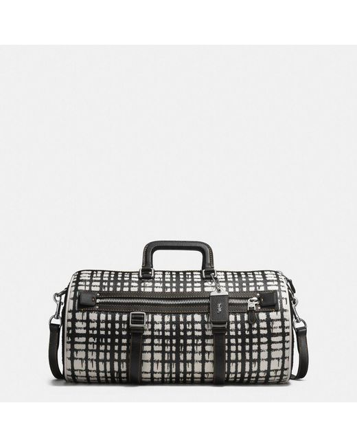 COACH | Black Flag Gym Bag In Wild Plaid Print Pebble Leather for Men | Lyst