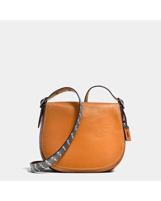 COACH | Orange Saddle Bag With Colorblock Snake Detail | Lyst