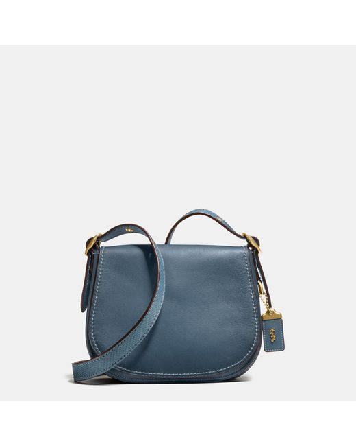 COACH | Blue Saddle Bag 23 With Colorblock Snake Detail | Lyst
