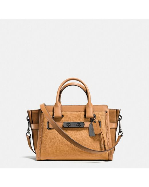 COACH   Brown Swagger 27 In Mixed Leathers   Lyst