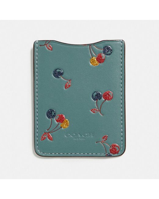 COACH - Green Phone Pocket Sticker With Cherry Print - Lyst