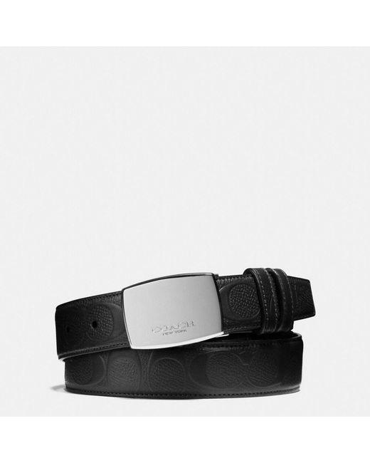 COACH   Black Dress Plaque Cut-to-size Reversible Signature Crossgrain Belt   Lyst