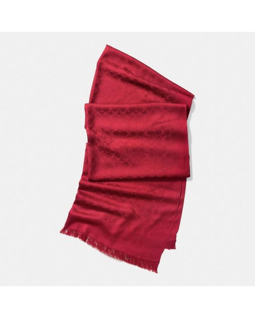 COACH | Red Signature C Stole | Lyst