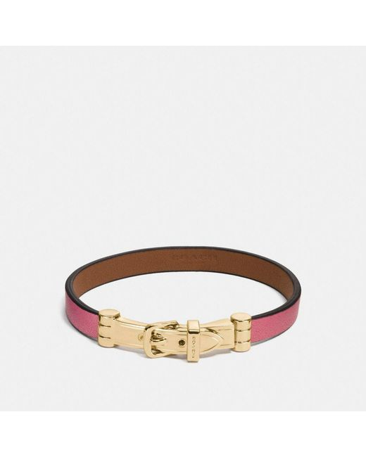 COACH | Brown Two Tone Glovetanned Leather Buckle Bracelet | Lyst