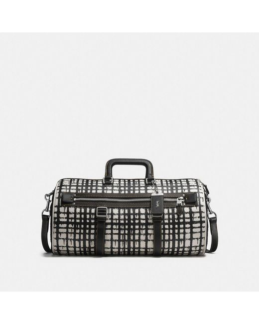 COACH - Black Flag Gym Bag In Wild Plaid Print Leather for Men - Lyst