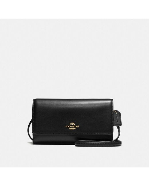 COACH - Black Leather Phone Crossbody Bag - Lyst