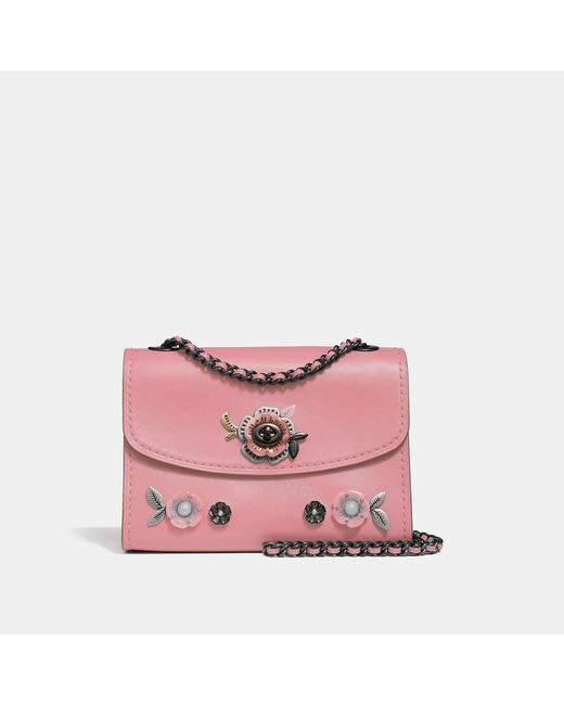 47b17eab7a2d Lyst - COACH Parker 18 Shoulder Bag With Allover Tea Rose Stones in Pink