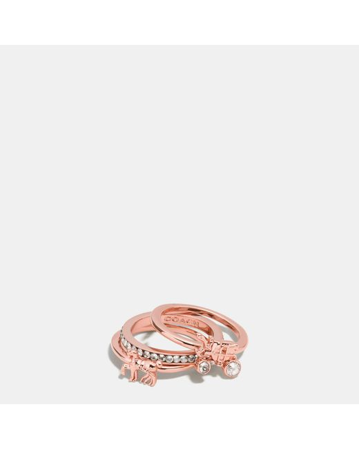 COACH | Pink Pave Horse And Carriage Ring Set | Lyst