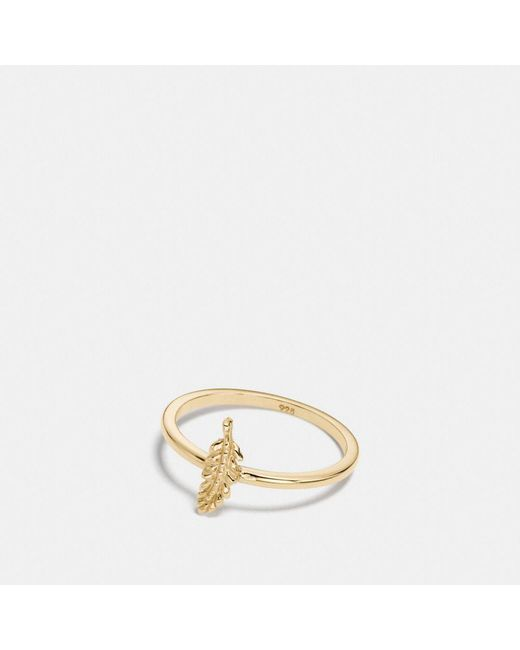 COACH - Metallic Mini 18k Gold Plated Feather Ring - Lyst