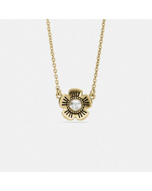 COACH   Metallic Willow Floral Pearl Necklace   Lyst