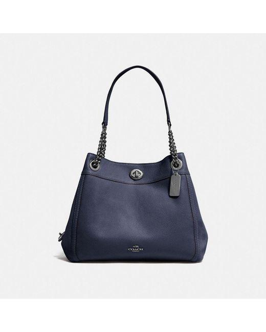 COACH - Black Turnlock Edie Shoulder Bag In Polished Pebble Leather - Lyst
