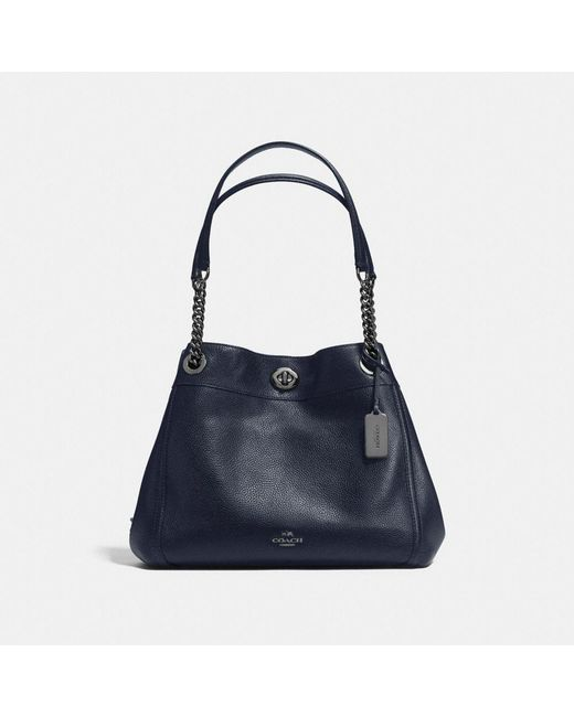 COACH - Blue Turnlock Edie Shoulder Bag In Polished Pebble Leather - Lyst