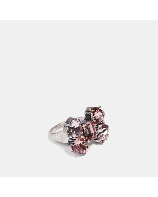 COACH - Metallic Crystal Bow Ring - Lyst