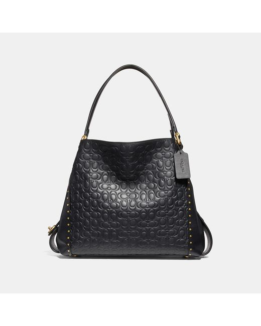 COACH - Black Edie Shoulder Bag 31 In Signature Leather With Rivets - Lyst