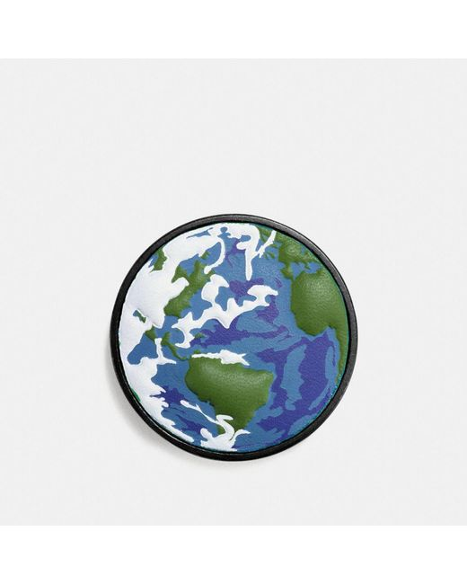 COACH | Green Planet Earth Leather Pin | Lyst