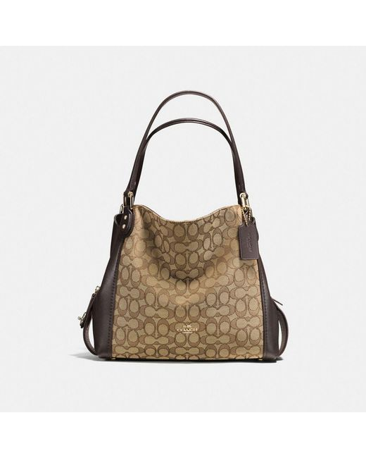 COACH | Brown Edie Shoulder Bag 31 In Signature Jacquard | Lyst