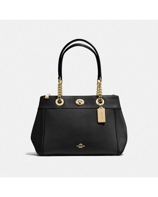 COACH   Black Turnlock Edie Carryall In Polished Pebble Leather   Lyst