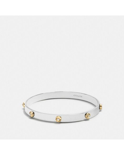 COACH - Metallic Daisy Rivet Bangle - Lyst