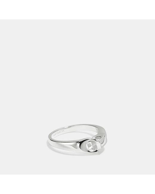 COACH - Metallic Signature Chain Link Ring - Lyst