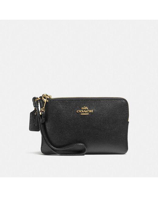 COACH | Black Small Wristlet In Crossgrain Leather | Lyst