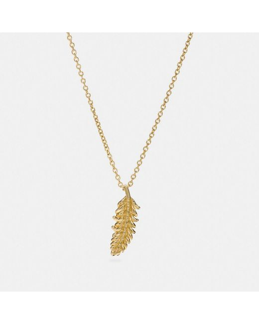COACH - Metallic Mini Feather Necklace - Lyst
